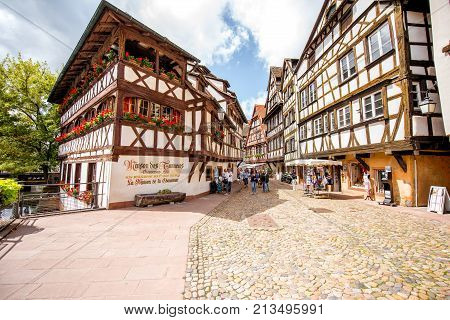 STRASBOURG, FRANCE - July 26, 2017: View on the beautiful half-timbered ancient houses in Strasbourg old town in Alsace region, France