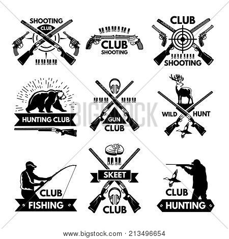 Labels and badges set for hunting club. Monochrome pictures of different animals and weapons for hunters. Hunter club and skeet club label emblem. Vector illustration