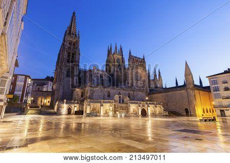 Burgos Cathedral on Plaza de San Fernando. Burgos Castile and Leon Spain.