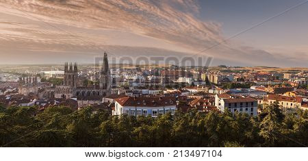 Burgos Cathedral and city panorama at sunrise. Burgos Castile and Leon Spain.