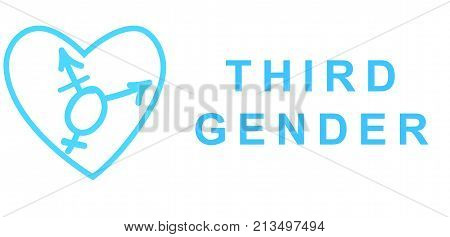 Intersex symbol in drawn heart shape with text: THIRD GENDER