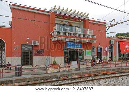 POMPEI ITALY - JUNE 25 2014: Train Station Villa Dei Misteri in Pompei Italy.