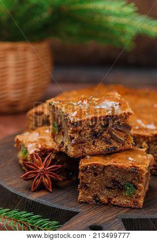 Fruitcake With Raisins, Dates, Candied Citrus, Honey, Cinnamon, Anise And Cardamom. Homemade Christm