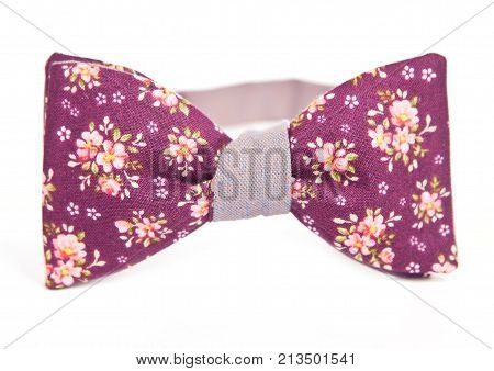 flower pattern bow tie isolate white background.