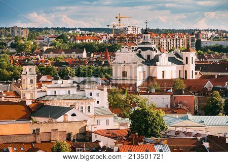 Vilnius, Lithuania. View Of Dominican Church Of Holy Spirit In Old Town In Summer Day. UNESCO World Heritage
