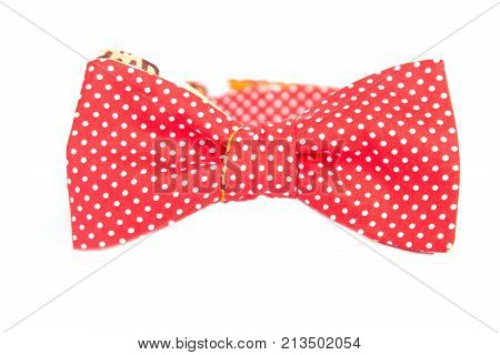 red tie bow with white polka dots, close up.