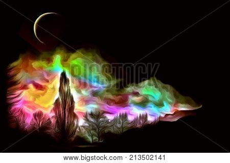 Expressionism digital painting. 3D rendering. Forest in the moon light.