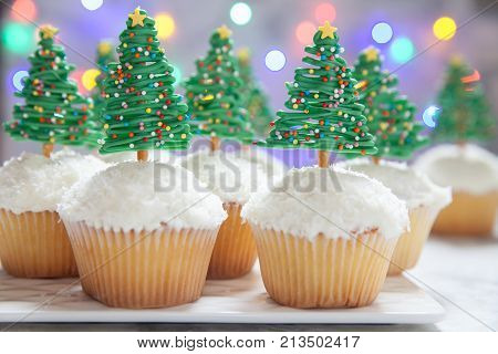 Happy holidays. Christmas tree cupcake sweet dessert