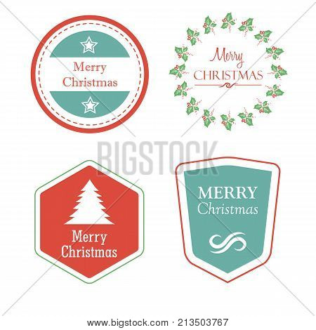 merry christmas in four holiday labels with christmas tree star mistletoe greeting cards