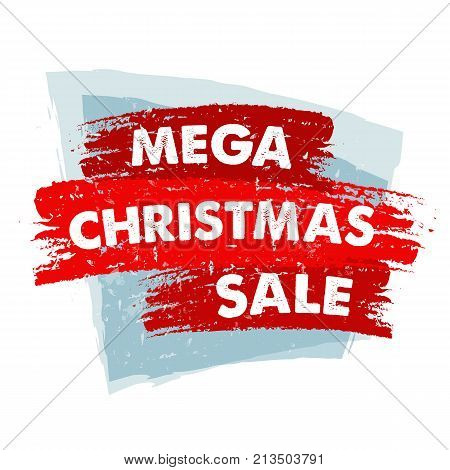 mega christmas sale - text in red blue drawn banner business holiday shopping concept