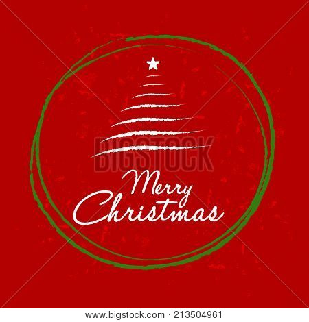 merry christmas with christmas tree in ball frame, red greeting card, holiday seasonal concept, vector