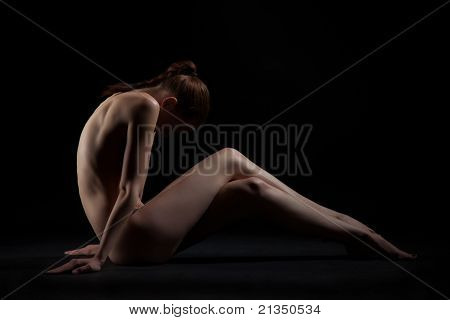 Graceful Sitting Nude Girl