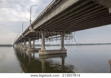 DNEPR, UKRAINE, JULY 13, 2017: Fragment of the central bridge in the city of Dnepr