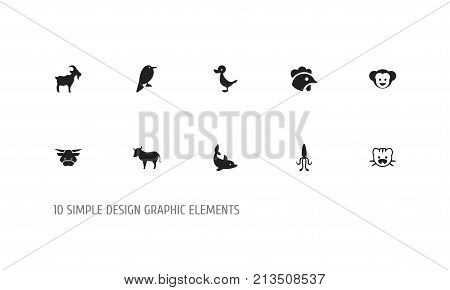Set Of 10 Editable Zoo Icons. Includes Symbols Such As Octopus, Quack, Ox And More