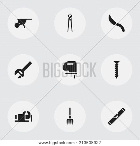 Set Of 9 Editable Equipment Icons. Includes Symbols Such As Handcart, Hay Fork, Dowel