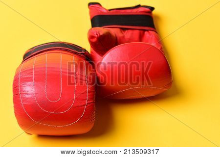 Pair Of Boxing Gloves Lying Next To Each Other.