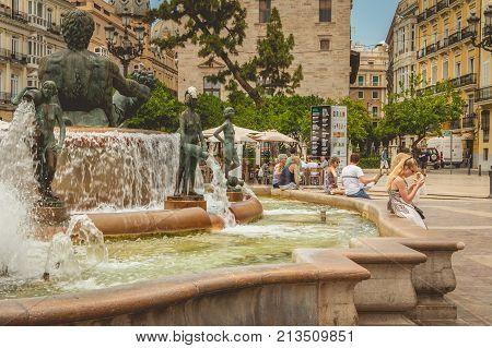 Fountain Of Turia, Square Of The Virgin In Vanlencia Spain