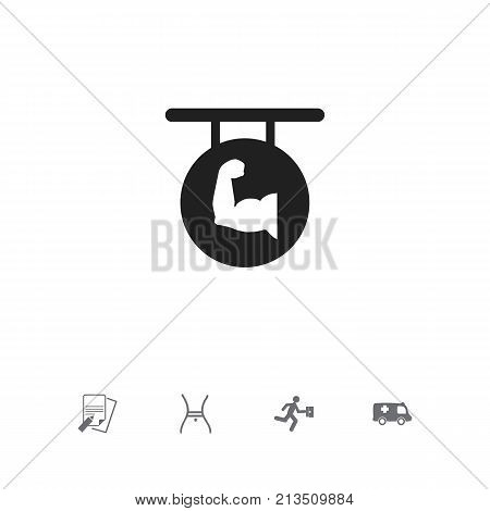 Set Of 5 Editable Complicated Icons. Includes Symbols Such As File, Emergency, Biceps And More