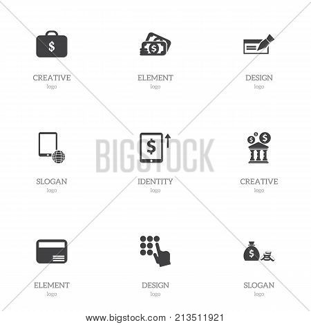 Set Of 9 Editable Financial Icons. Includes Symbols Such As Banknote, Loan, Payment And More