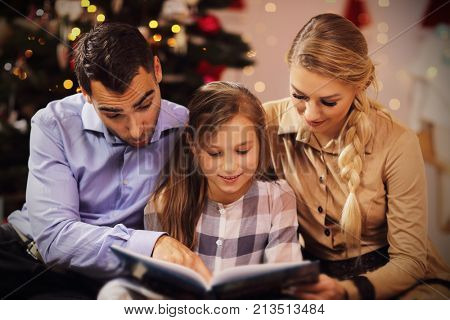 Picture showing family reading story book together under Christmas tree