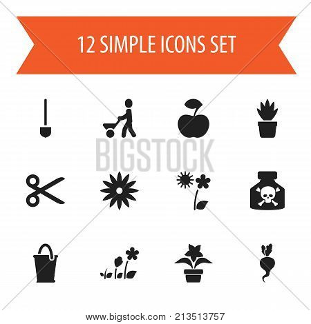 Set Of 12 Editable Planting Icons. Includes Symbols Such As Venom, Cut, Botany And More