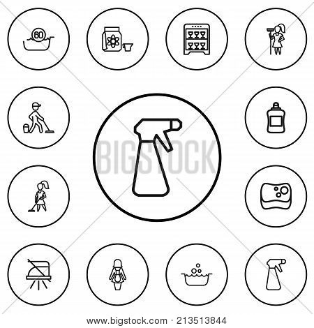 Set Of 12 Editable Hygiene Outline Icons. Includes Symbols Such As Sponge, Notice, Spray And More