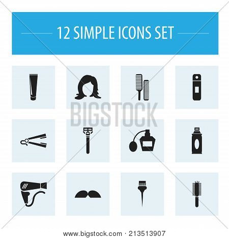 Set Of 12 Editable Coiffeur Icons. Includes Symbols Such As Straightener, Shampoo, Whiskers And More