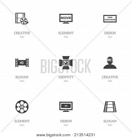 Set Of 9 Editable Movie Icons. Includes Symbols Such As Spotlight, Theater Agency, Film And More