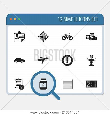 Set Of 12 Editable Complicated Icons. Includes Symbols Such As Coins, Aircraft, World And More