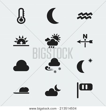 Set Of 12 Editable Air Icons. Includes Symbols Such As Cloudy Day, Frigid, Scale And More