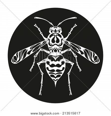 Icon of wasp silhouette on the black background. Vector illustration.