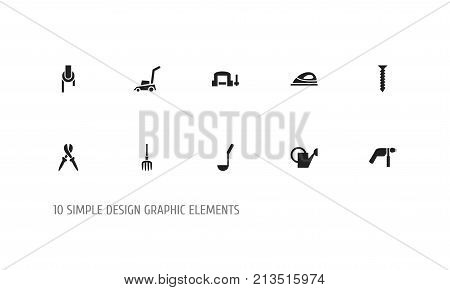 Set Of 10 Editable Instrument Icons. Includes Symbols Such As Dowel, Pliers, Sheave And More