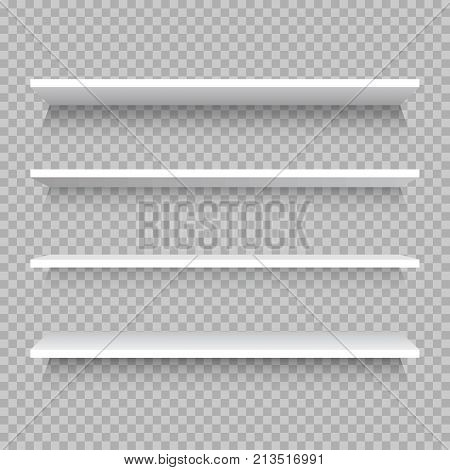 Empty white shop shelf retail shelves from plywood frame. Realistic vector bookshelf rectangle 3d store wall display illustration on checkered background