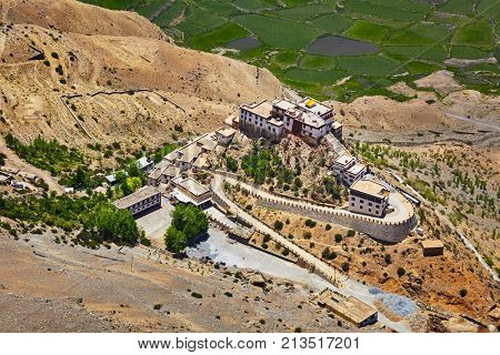 Aerial view of Ki Gompa (also spelled Key or Kee) is a Tibetan Buddhist monastery - the biggest monastery of Spiti Valley.  Spiti Valley, Himachal Pradesh, India