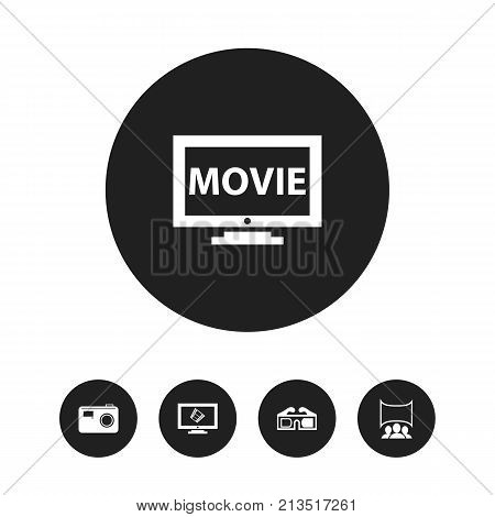 Set Of 5 Editable Movie Icons. Includes Symbols Such As Show, 3D Glasses, Film And More