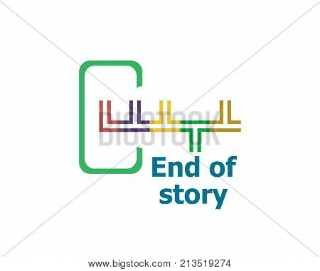End Of Story . Modern Abstract Design, Business Icon. Geometric Emblem