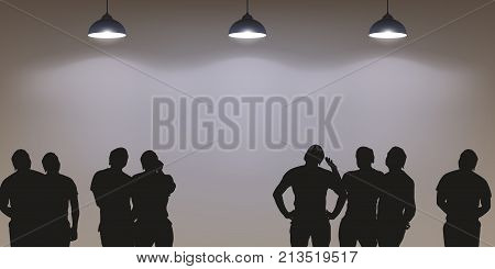 illustration of people silhouettes looking on bright clear wall with lights