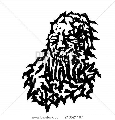Scary head of zombie with bleeding from the mouth of mucus. Vector illustration. Black and white colors. Horror genre.