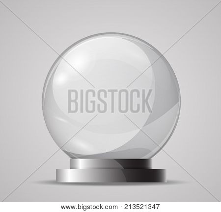 Glass Sphere On A Stand. Template For The Magic Ball, Souvenir. Empty Glass Sphere. Crystal Ball For
