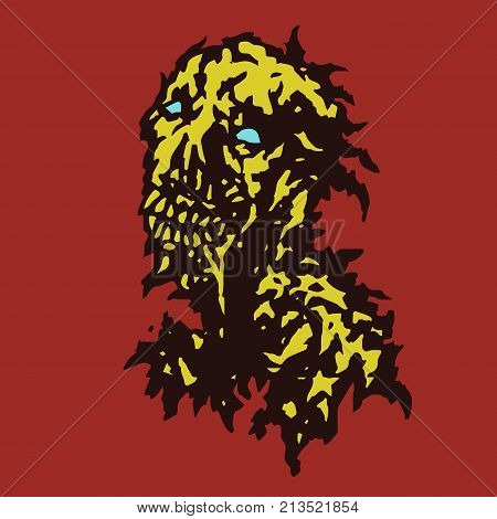 Raw zombie with saliva flowing from his mouth. Vector illustration. Genre of horror.