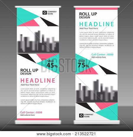 Blue-pink Roll Up Banner Template, Triangle Modern Background