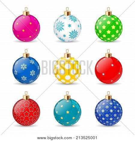Set of color Christmas balls on a transparent background. Stocking Christmas decorations. Stocking element New Years. Transparent vector object for design, mock-up