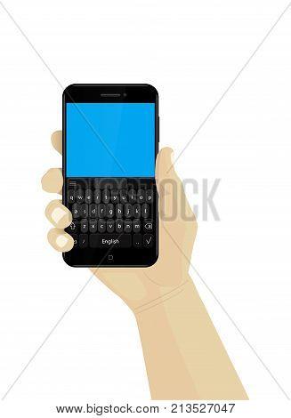 Hand holding smartphone. Vector. Mobile keyboard. Phone
