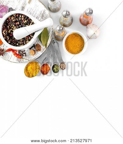 spices on white background isolated with place for text. view from above