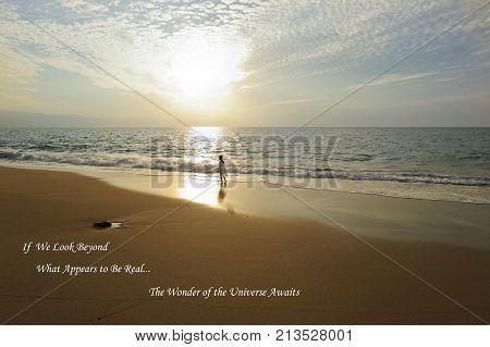 Spiritual soul girl ocean sunset beach is a girl on beach is a small girl soul looking in the the light of freedom and emlightment.