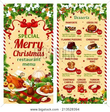 Merry Christmas dinner restaurant menu template of winter holidays dessert dishes. Vector price for pudding greek pie, Christmas log carol or panforte and ginger cookies or turron nougat