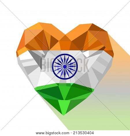 Vector crystal gem jewelry Indian heart with the flag of Republic of India. Flat style logo symbol of love India. Republic Day. 26 January