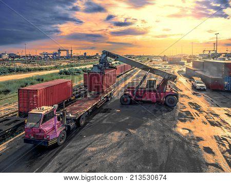 Crane Trucks Lift Container In Warehouse Transportation Port .