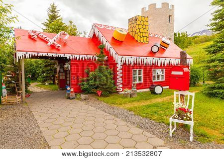 July 2013 Akureyri This is the Santa Claus home in Akureyri in the North of Iceland where visitors come in this period to buy candy and Christmas decorations.