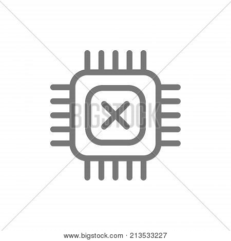 Simple computer micro chip and processor line icon. Symbol and sign vector illustration design. Isolated on white background